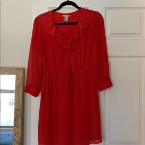 Red ruffle neck shirt dress